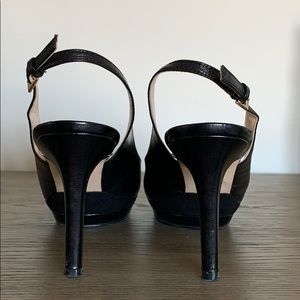 Nine West Shoes - Nine West Black Leather Slingback Heels Size 8
